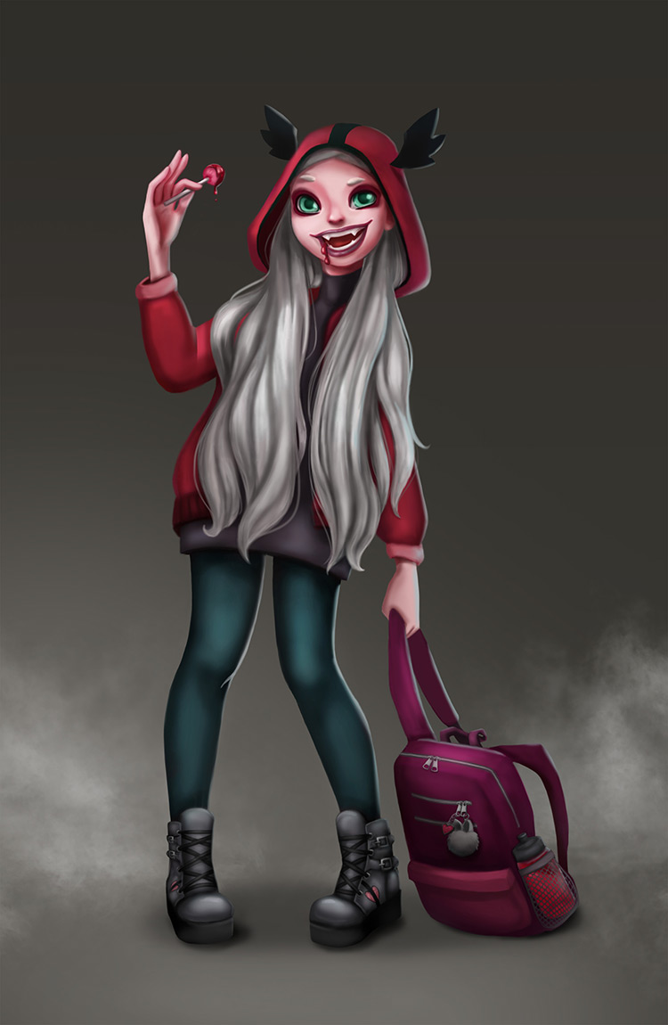 vampire girl teenager character art illustration