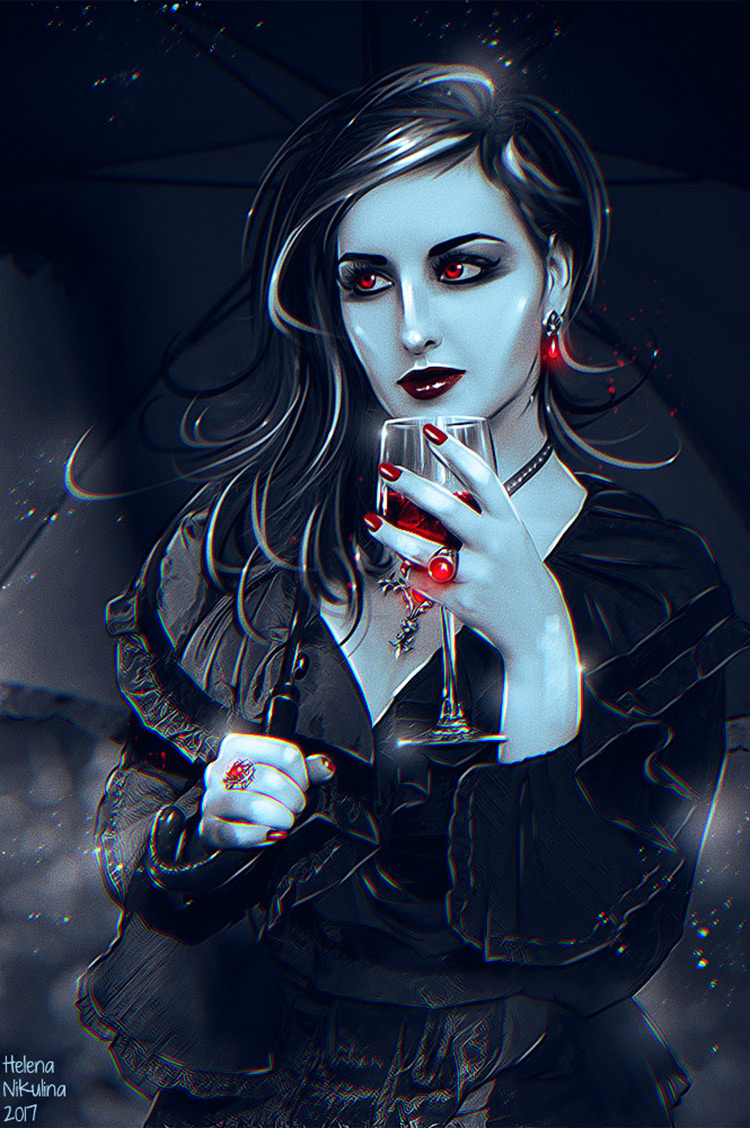 vampire female blood wineglass dark art illustration