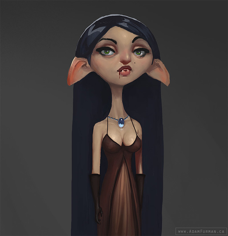 vampire female graceful character design art concept