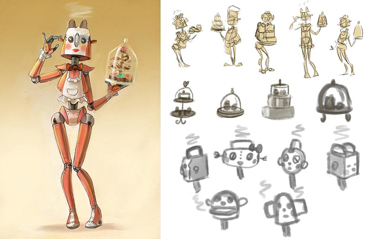 robot maid character concept art sketch
