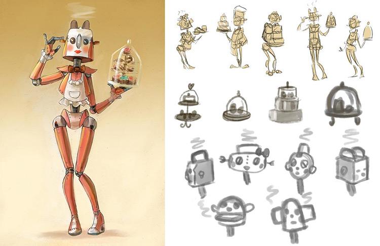 机器人插图,概念图和人物设计