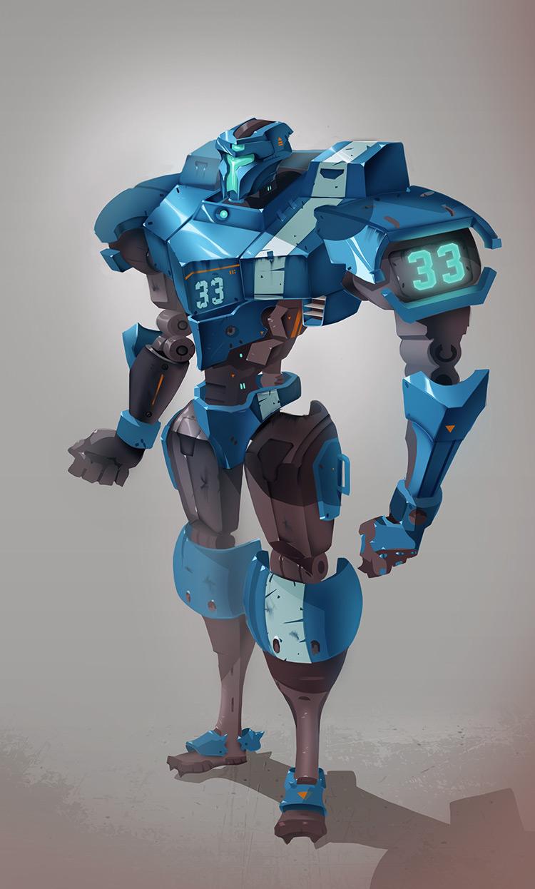 robot mech gridiron player character concept art