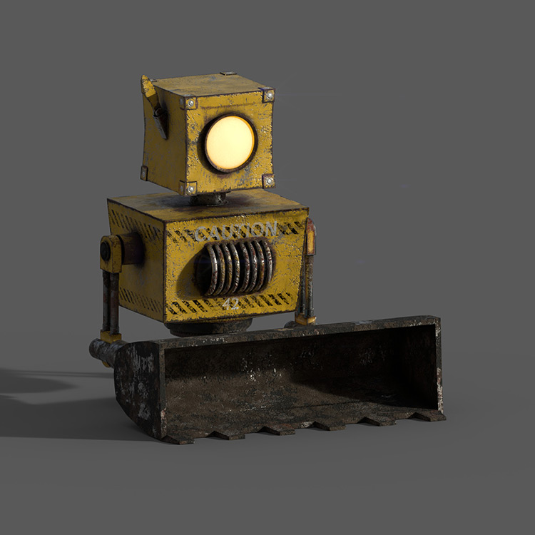 robot cute mech bulldozer character game art