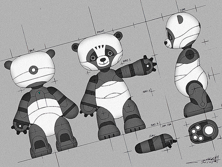 robot panda prototype mechanical concept art