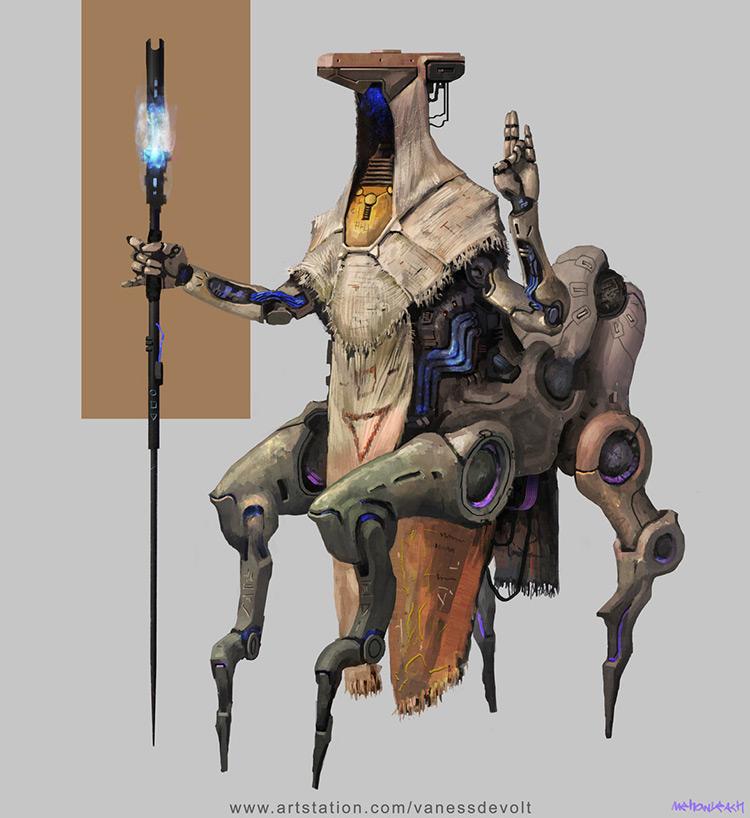 robot shaman cyber sci-fi concept art illustration