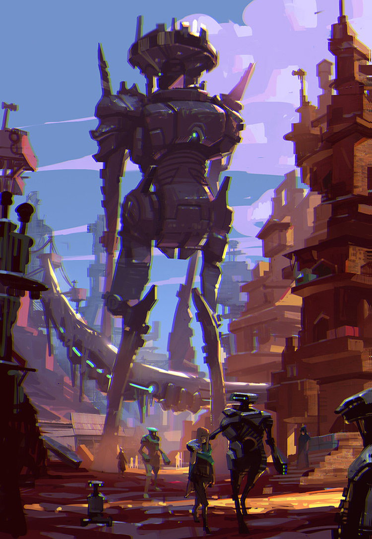 robots city sci-fi art illustration