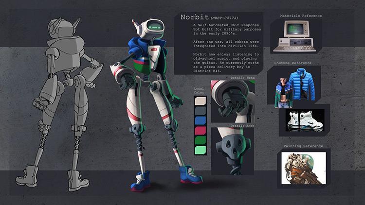 robot norbit character design concept art
