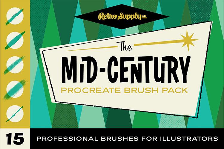 Midcentury 50s style brushes