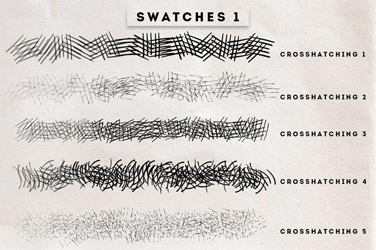 Crosshatching brush set