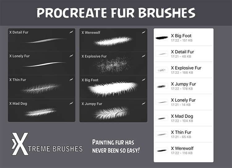 Procreate fur brush set