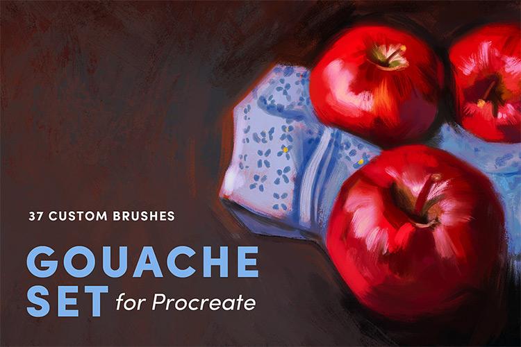 Digital Gouache brushes for Procreate