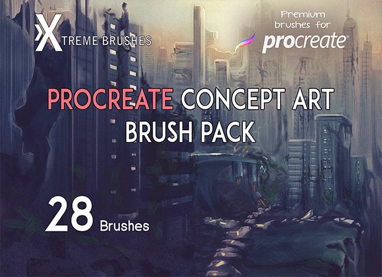 Concept art brush set for Procreate