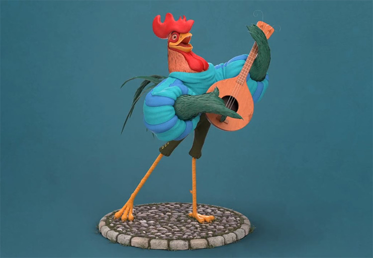 Alan-A-Dale The Rooster organic character model