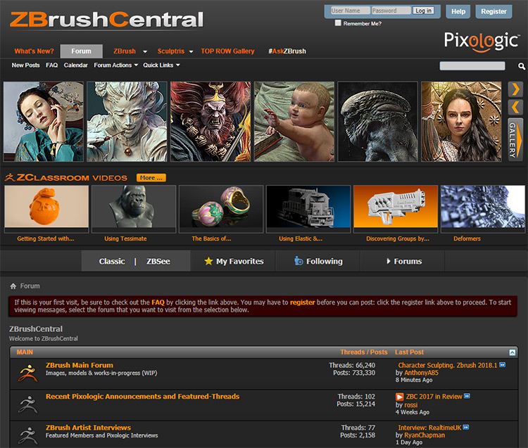 ZBrush Central website