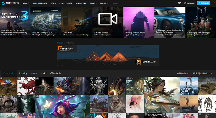 Artstation homepage
