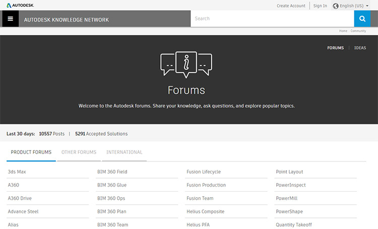 Autodesk Forums screenshot