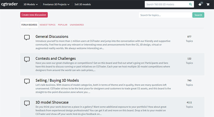 CGTrader forums screenshot