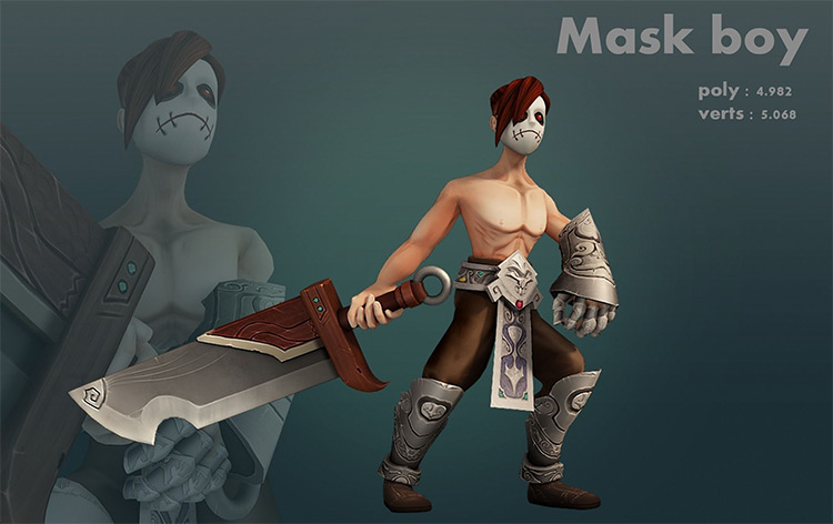 Rigged character mask boy design