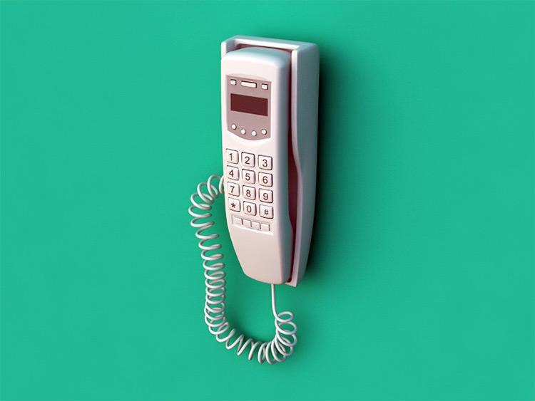 Wall telephone realistic model