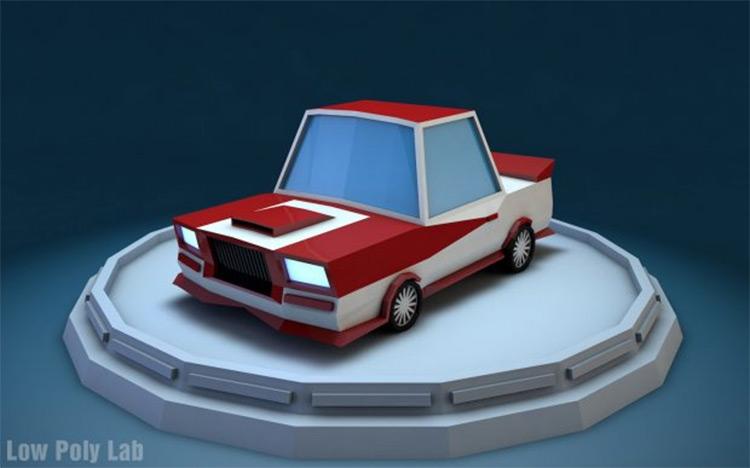 lowpoly race car model