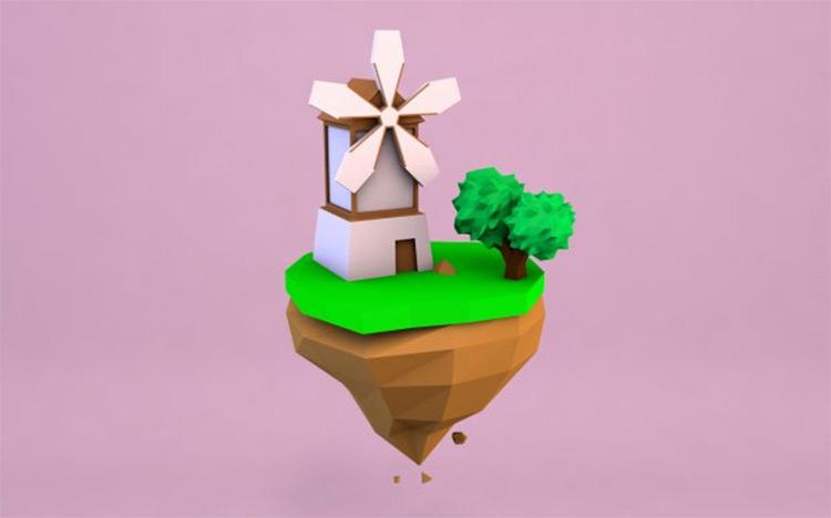 Cartoon mill model floating island