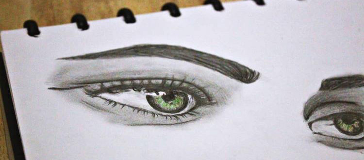 Realistic drawings of human eyes