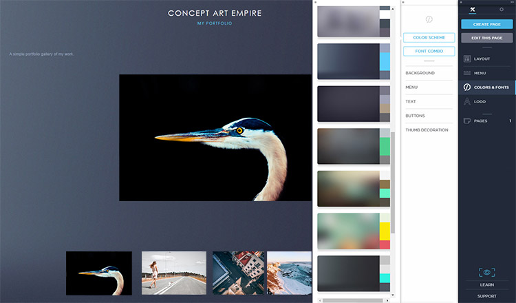 Changing color scheme in Portfoliobox