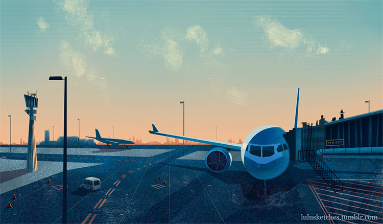 Airport background doodle
