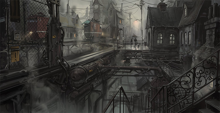 Train station environment painting by Hethe