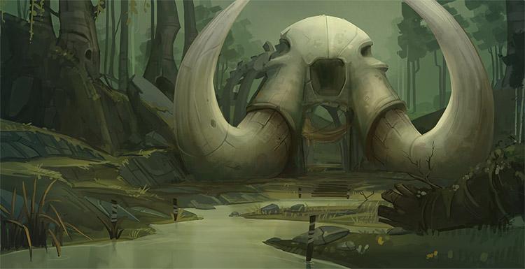 Swamp skull environment painting