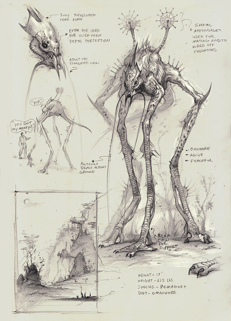 Pemagort creature concept art sketches