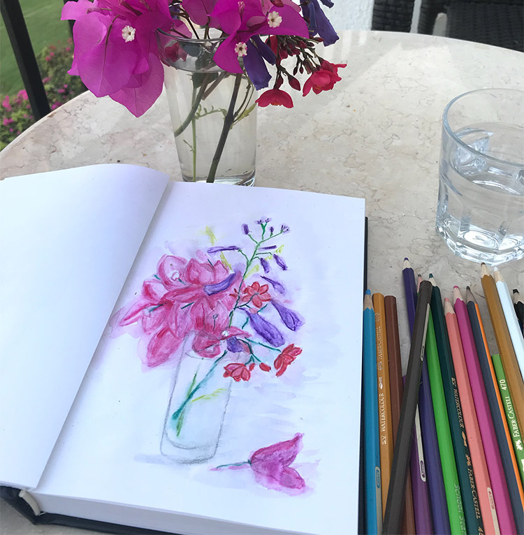 Watercolor pencil flower vase drawing