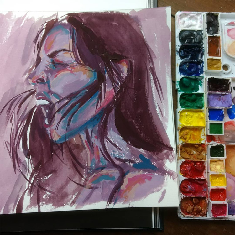 Portrait painting with experimental colors