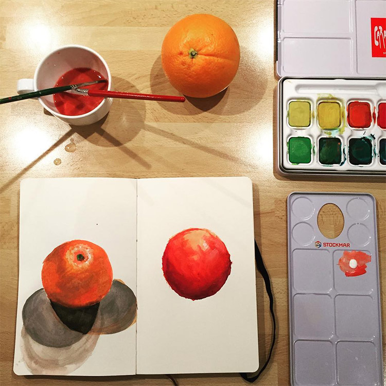 Color study painting of fruit