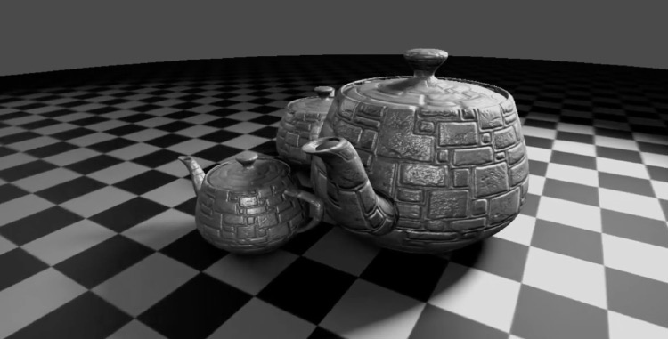 Teacups applied with 3D textures