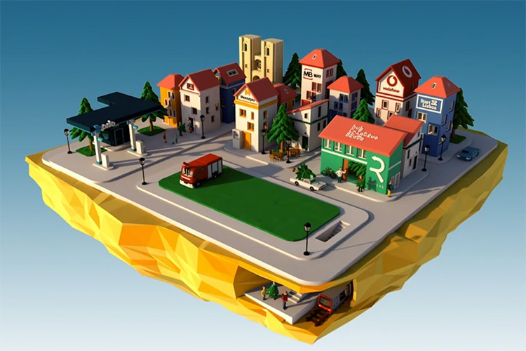 3D city area rendered landscape