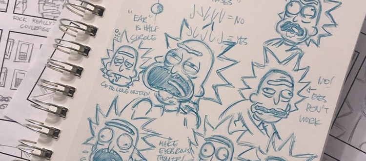 Rick and Morty skechbook drawings