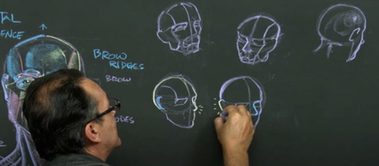 Rey Bustos - drawing the human head, anatomy course from NMA