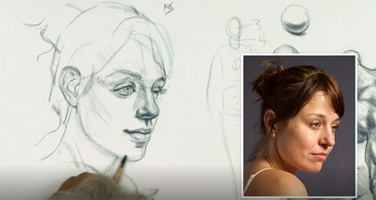 Portrait drawing - female pose from NMA library