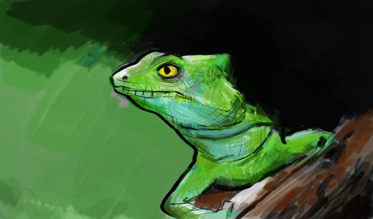 Green Lizard painting on Artist 16 Pro