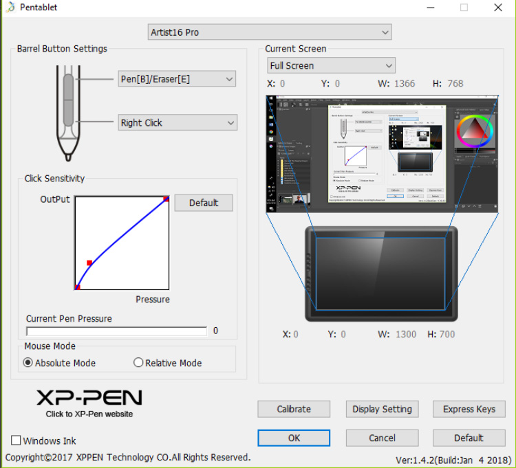XPPen Artist16 Calibration Software
