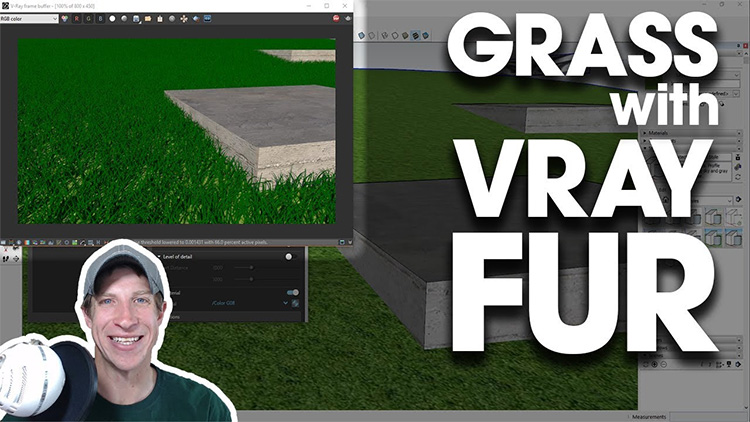 VRay grass rendering in SketchUp