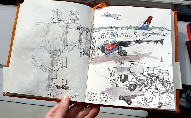 Drawing of Serbia Air airplane in sketchbook