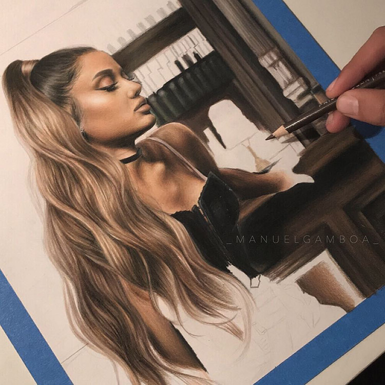 Fullsize Ariana Grande hyperrealism drawing
