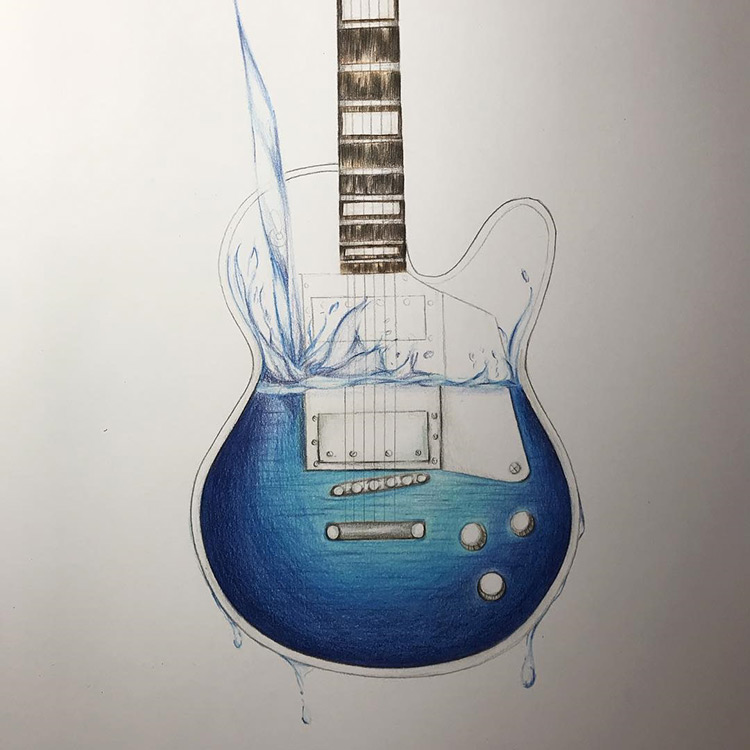 Water filling guitar - sketchbook drawing