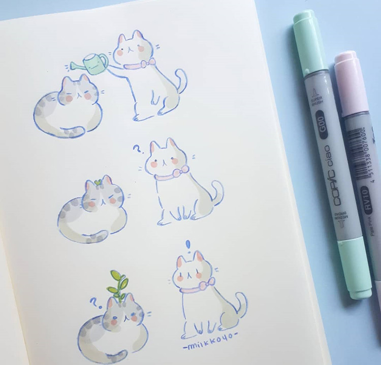 Cat drawings illustrations