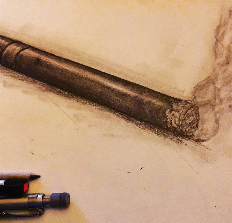 Drawing of a smoking cigar