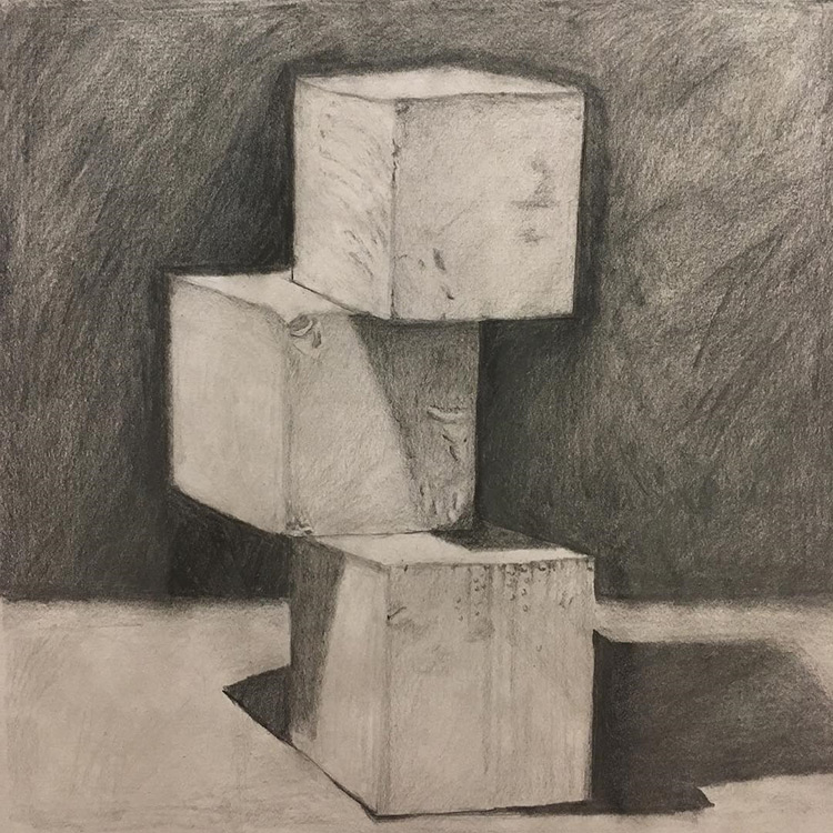 Realist drawing of three cubes