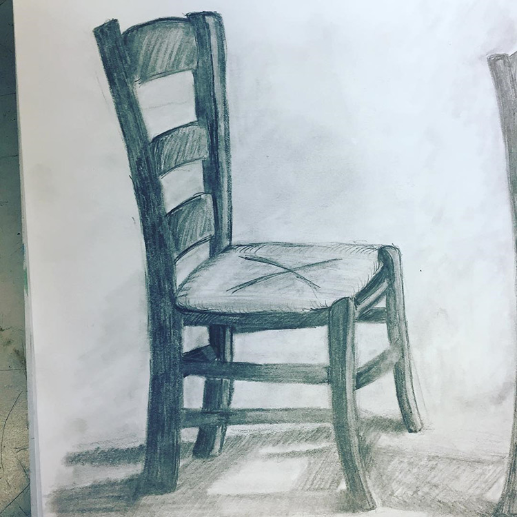 Drawing of a chair - realist style