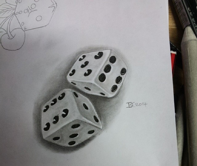 Drawing of small dice